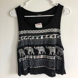 Black tank with elephant design